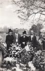 Cora Mae Brantley, Loy Braswell, Aunt Stella Broadwell, Uncle Walter Braswell at Grandma Braswell's grave after burial 1945