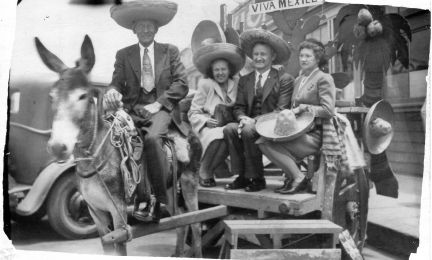 Aunt Tom Brantley & George Mahs in center - Mexico