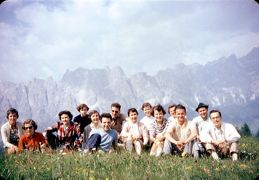 group on hillside above Cortina