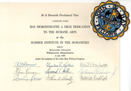 John Hay Fellows 1963 certificate