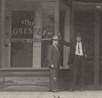 James Hasty on right - A. Gresset Music House - photo by Hanna's Art Studio, Columbus, Miss cropped