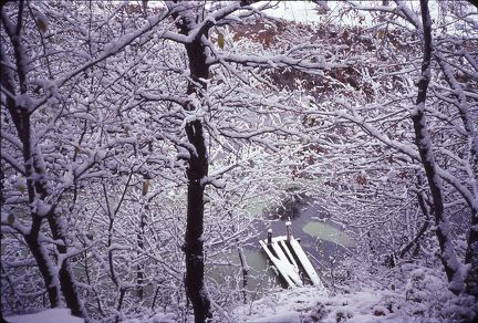 1983 winter snow - old dock Falling Springs Rd house