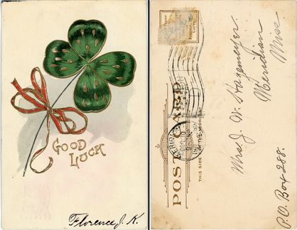 1906 Good Luck shamrock to Jessie from Florence
